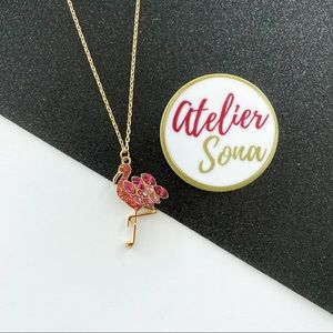 Crystal Encrusted Flamingo Necklace